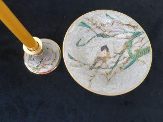 Nb37) Messingschale Und Kerzenhalter Mit Vogelmotiv Bild