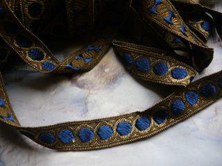 Für Klosterarbeit? Traumhafte Goldborte Brokatborte Blau Faschenkindl? 17 Mm Bild