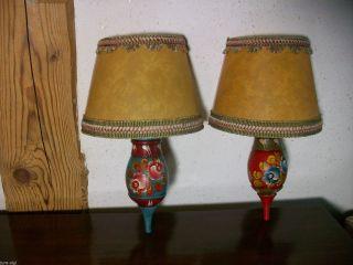 Bauernmalerei - 2 Wunderschöne Wandlampen / Wandleuchte Bild