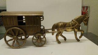 Pferd Messing Zigeunerwagen Ziehend Pferd Mit Wagen Chevale Horse Brass Bild