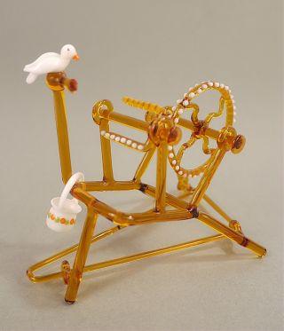 Filigranes Lauscha Kunstglas Spinnrad Beweglich 50er - 60er Jahre Bild