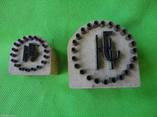 Hj Monogramm Druckstock Metall Auf Holz Stock Stempel Klischee Wäschestempel Alt Bild