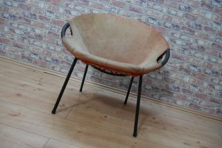 50er Jahre Sputnik Chair Cocktail - Sessel Leder Metallgestell 50s Bild