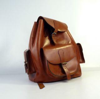 Mid Century Großer Stylischer Vintage Echt Leder Rucksack Leather Backpack Bild