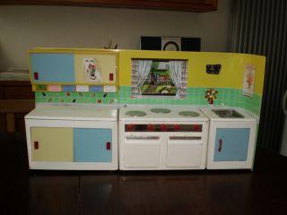 Puppenküche Spielzeug - Küche Blech 1960er - Jahre Mit Originalkarton Bild
