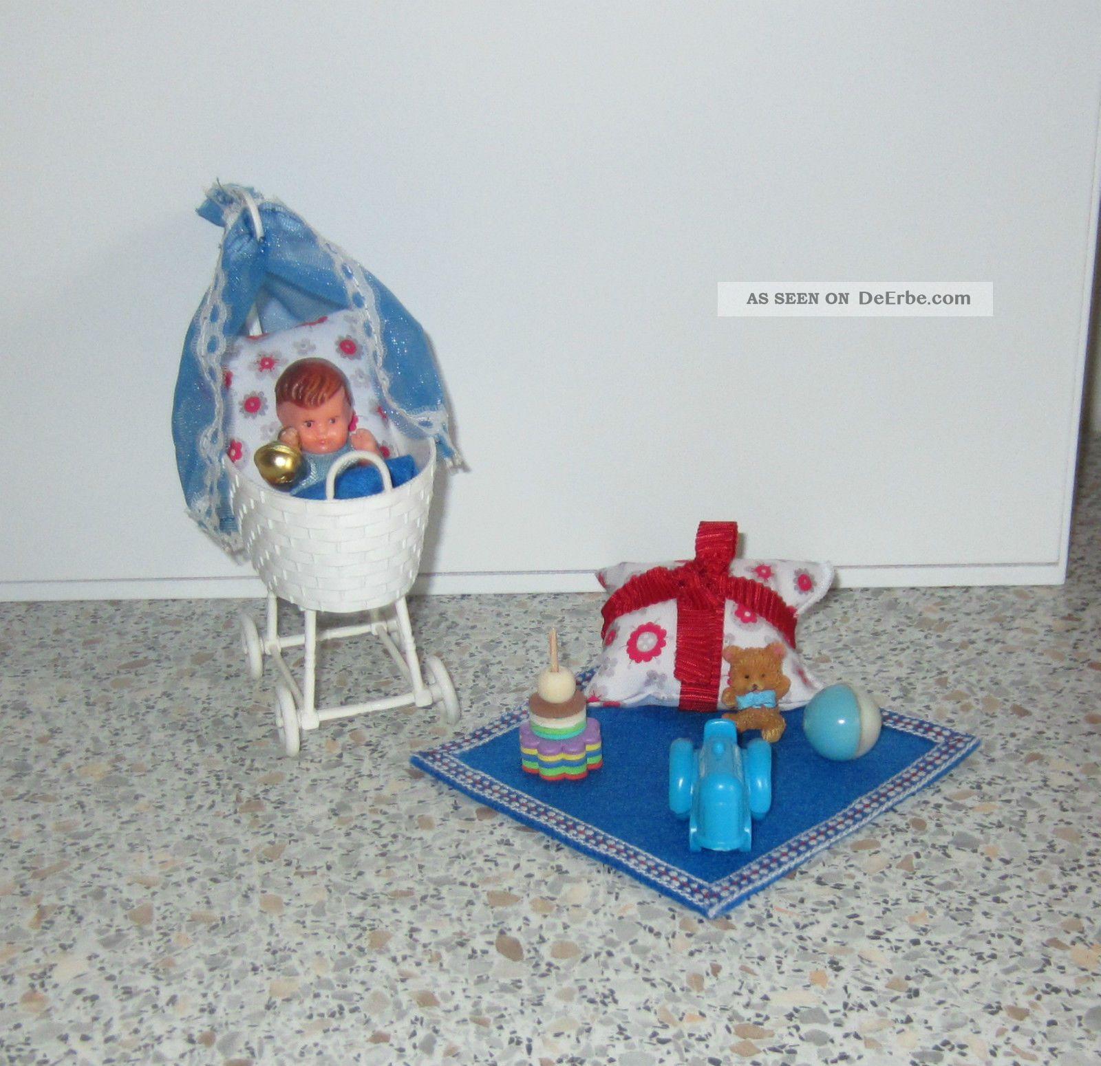 f r puppenstube puppenhaus puppen stubenwagen mit ari puppe. Black Bedroom Furniture Sets. Home Design Ideas