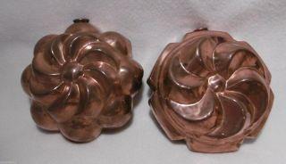 ,  2 X Schöne Runde Kupfer Backform - Kupferbackform,  Hhj Bild