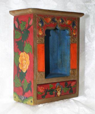Altar Schrein Tibetischer Hausaltar Holz Nr.  42 Doppel Dorje Nepal Tibet Buddha Bild