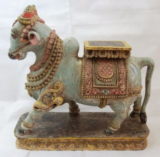 Heilige Krishna Kuh Holzschnitzerei Figur Indien Hinduismus Old Indian Holy Cow Bild