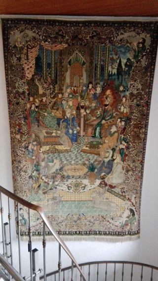 Aussergewöhnlicher Täbriz Teppich Figural Wandteppich Bild
