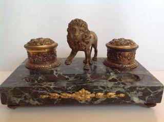 Schreibtischgarnitur,  Frankreich Um 1890,  Bronze Mit Marmor Bild
