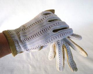 Entzückende,  Uralte Damenhandschuhe,  Helles Leder Mit Spitzeneinsatz Bild