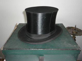 Alter Zylinder,  Hut,  Chapeau Claque 56 Welt - Klapphut Bild