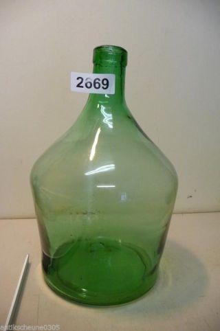 2669.  Alte Biedermeier Glas Flasche Weinballon Mundgeblasen Bild