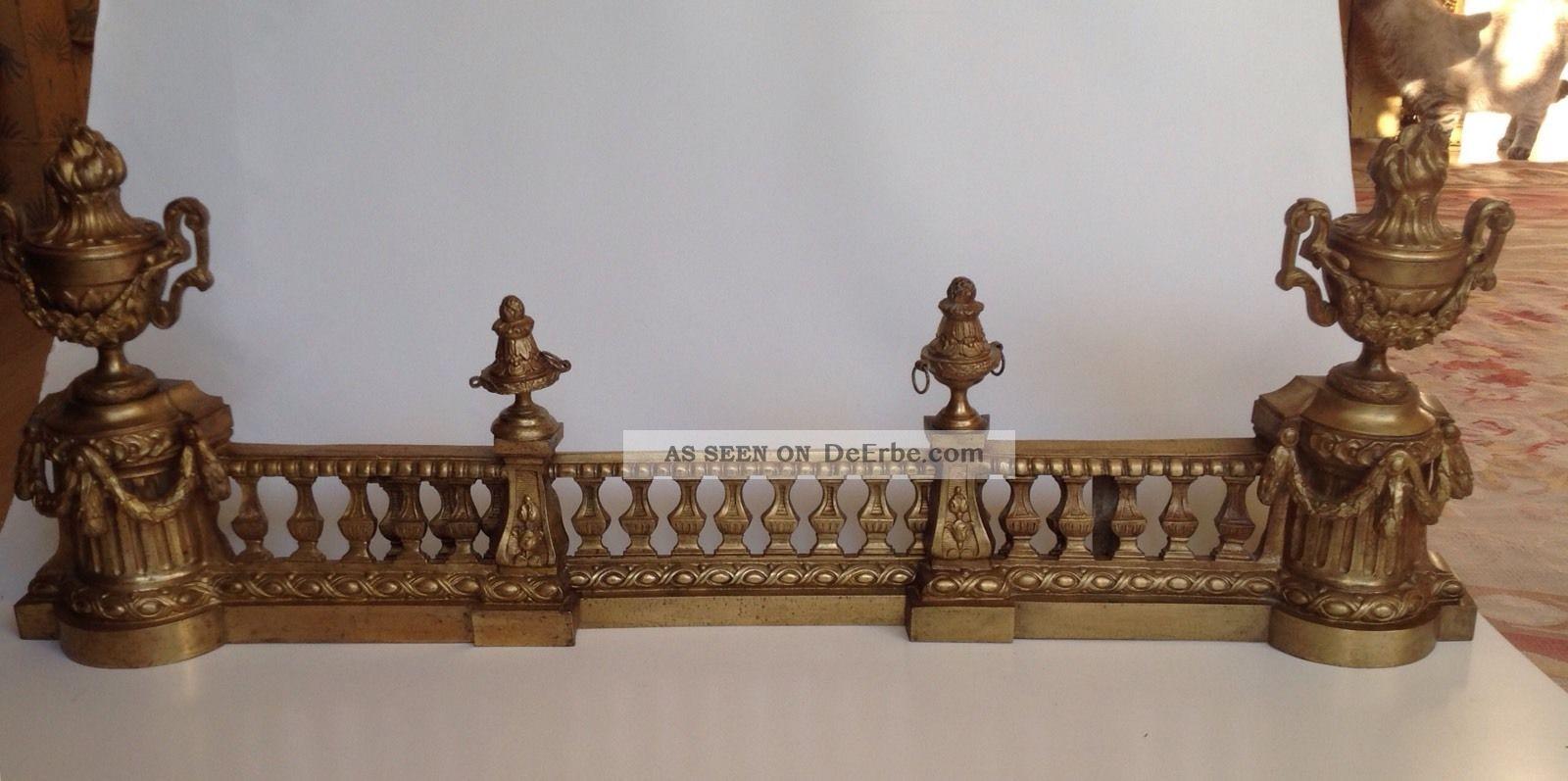 Kamingarnitur,  Kaminvorsteher,  Funkenschutz,  Bronze,  Frankreich Um 1880 Original, vor 1960 gefertigt Bild