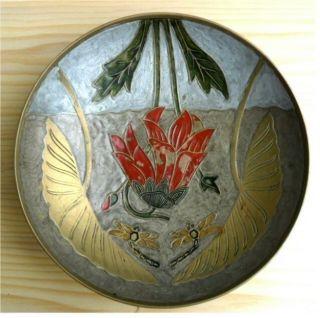2 Alte Messing Schalen – Vogeldekor Und Libellen Blumen Dekor – Altmetall Bild