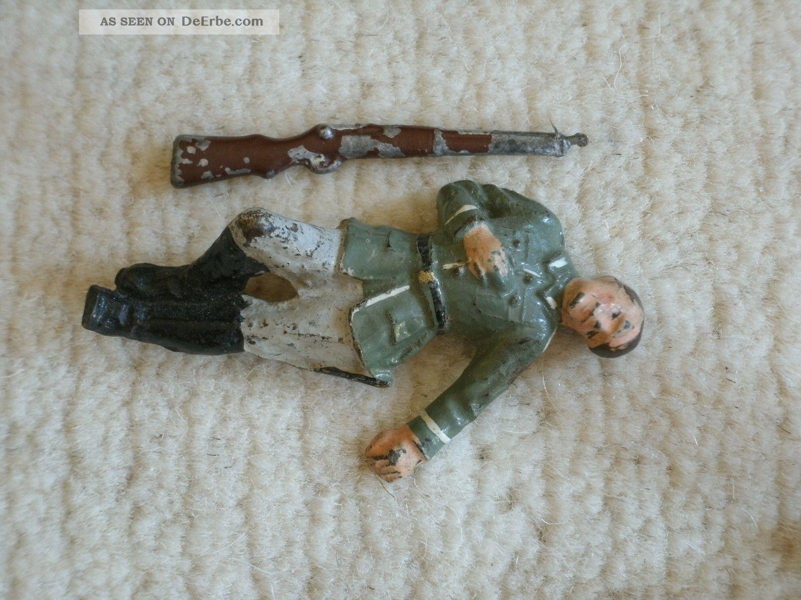 Lineol Elastolin Soldat Liegend Gefallen Mit Gewehr Gefertigt vor 1945 Bild
