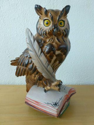 Holzfigur § Holz Figur Eule Auf Buch Mit Schreibfeder @ Oberammergau Bild