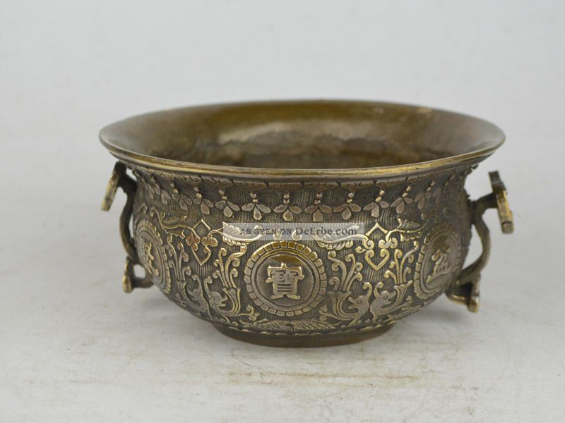 Collectible Old Exquisite China Copper Carving Flower Treasure Bowl 聚宝盆 Antike Bild