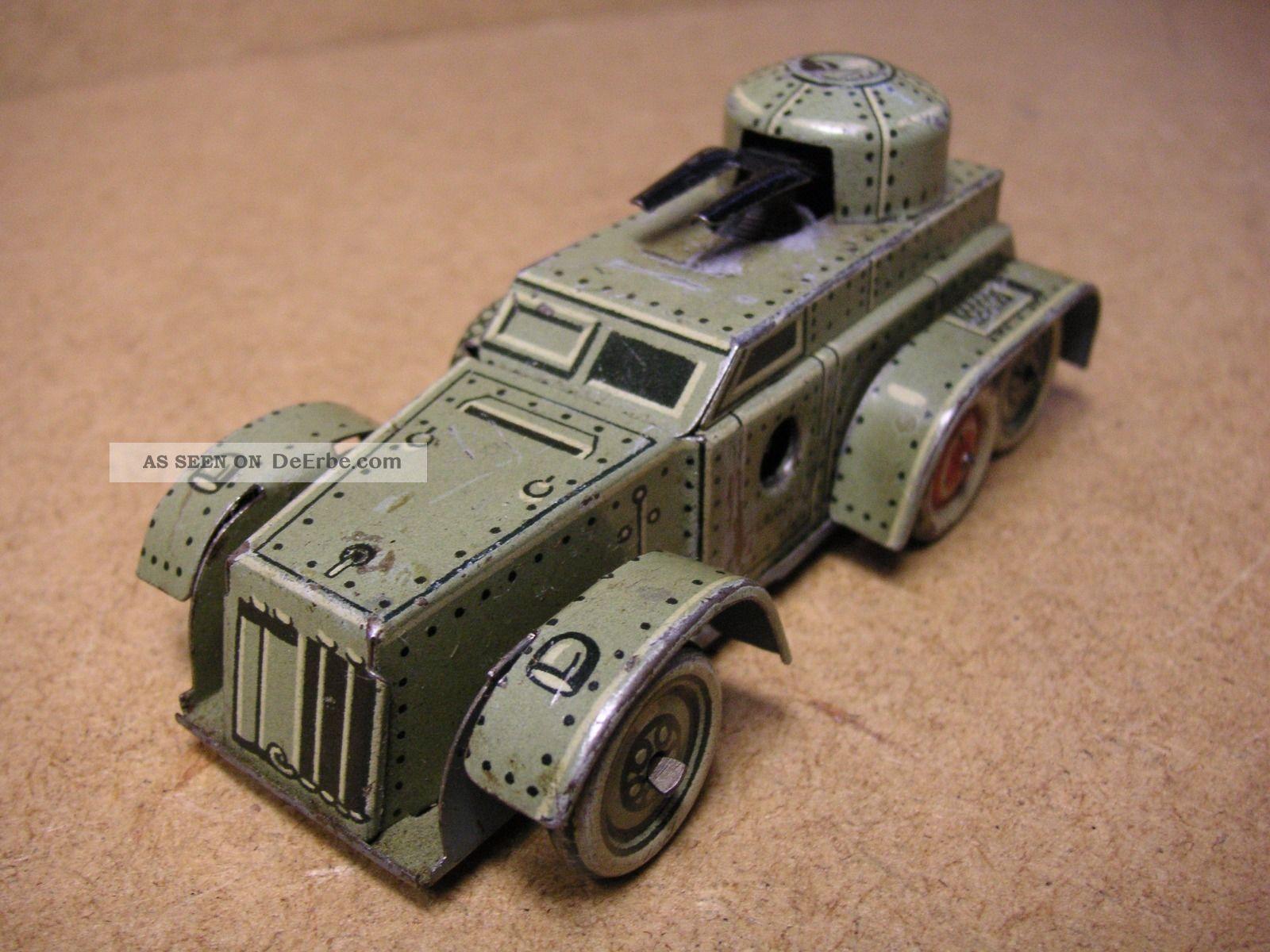 Pennytoy Cko 338 Panzerwagen Blech Uhrwerk Germany Vorkrieg Tin Tole Latta Original, gefertigt vor 1945 Bild
