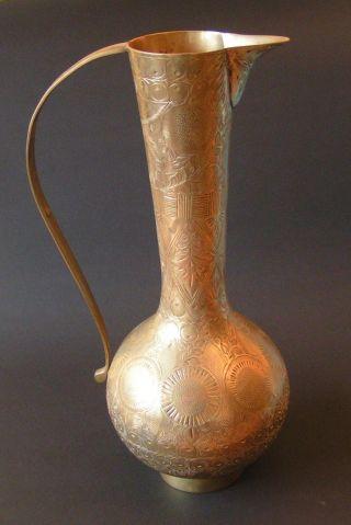 Antike Messingkaraffe Indien 37cm Goß Messing Vase Handarbeit Rarität Bild