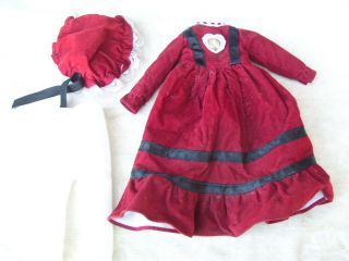 Alte Puppenkleidung Red Velvet Dress Hat Outfit Vintage Doll Clothes 30 Cm Girl Bild