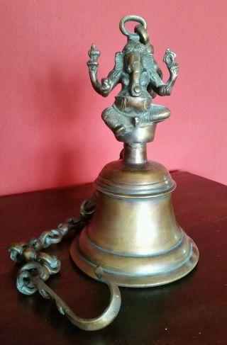 Tempelglocke Ganesha Indien Bronze Hindu Sakral Gottheit Bild