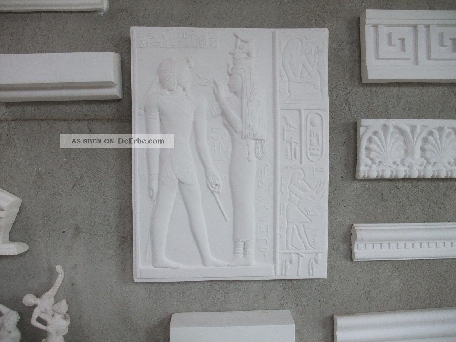 AltÄgyptisches Relief Supraduro Alabastergips SchÖn Deko Vor 1900 Bild