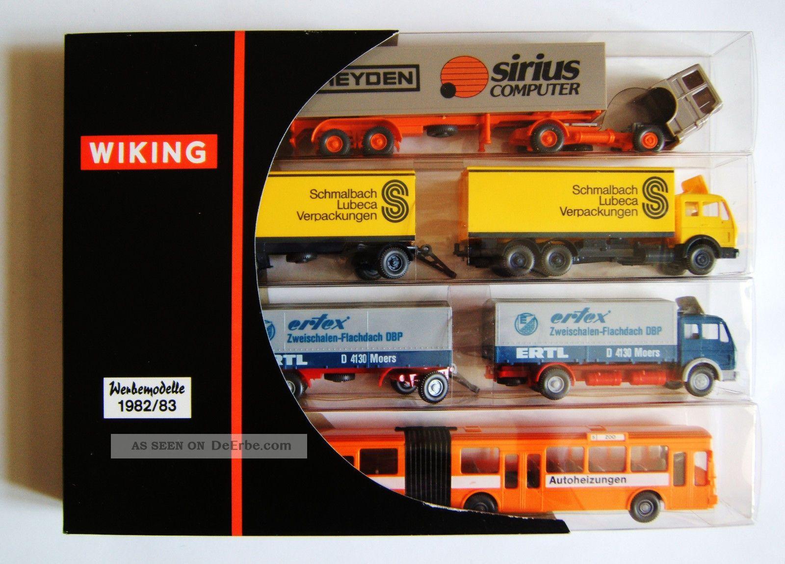 Wiking Werbemodelle 1982 83,  Nr 198302,  Sattelschlepper,  2 Lkw Mit Anhänger,  Bus Nutz- & Transportfahrzeuge Bild