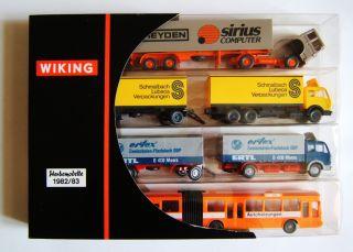 Wiking Werbemodelle 1982 83,  Nr 198302,  Sattelschlepper,  2 Lkw Mit Anhänger,  Bus Bild