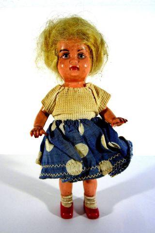Sehr Alte Celluloid Zelluloid Edi Puppe Mädchen Mit Kleid Trachtenpuppe 16cm Bild