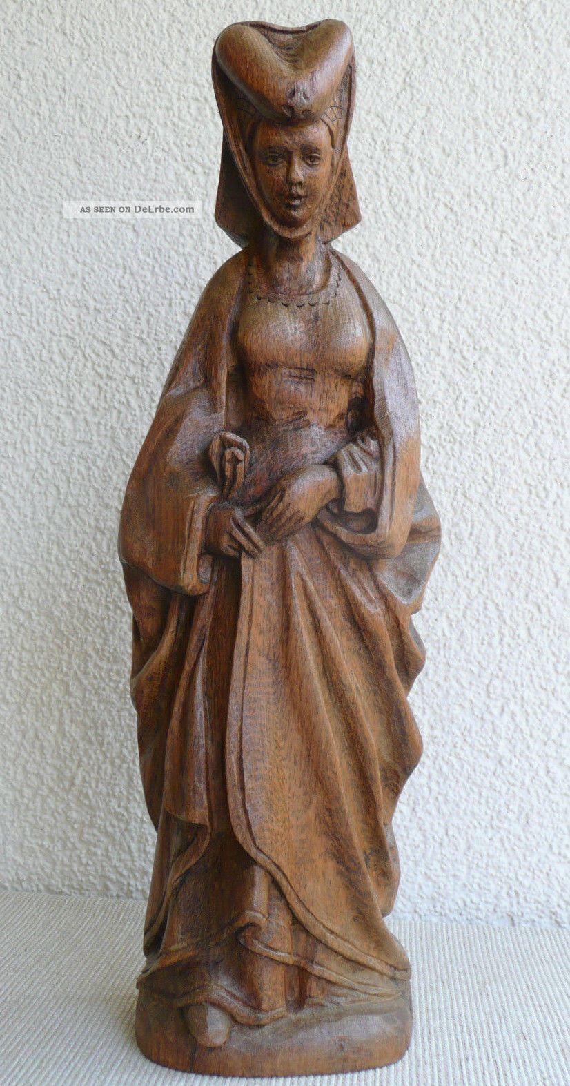 Große Geschnitzte Holz Figur Heiligenfigur Größe 44cm Skulptur Holzfigur Selten Holzarbeiten Bild