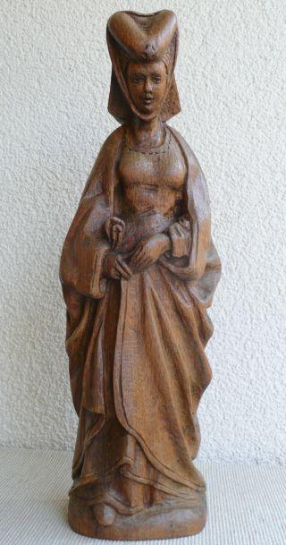 Große Geschnitzte Holz Figur Heiligenfigur Größe 44cm Skulptur Holzfigur Selten Bild