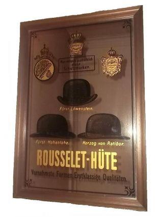 Alter Reklamespiegel Spiegelrahmen Wandbild Rousselet Hutfabrik Ca.  1940/50 Rar Bild