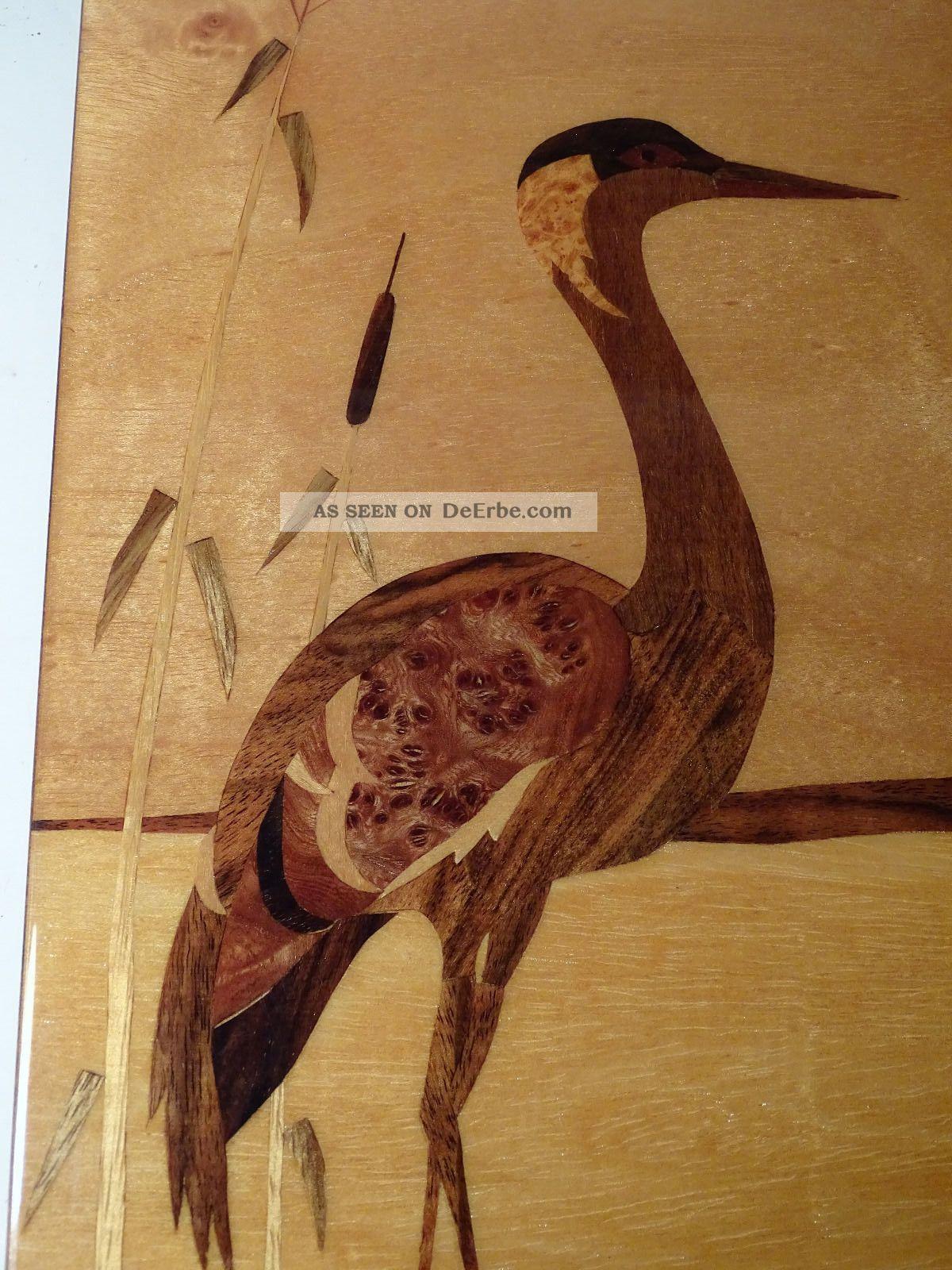 Intarsien Kunst Bild Flamingo Holz 1950er Jahre Intarsienbild Holzarbeiten Bild