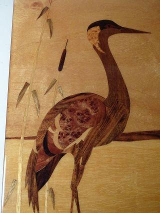 Intarsien Kunst Bild Flamingo Holz 1950er Jahre Intarsienbild Bild