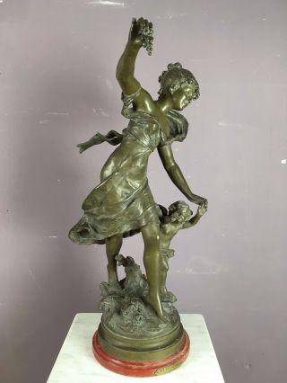 Ob16 - 0106 - Bronzefigur - Jugendstil - La Jeunesse - Par A.  Moreau - Engel Und Frau Bild