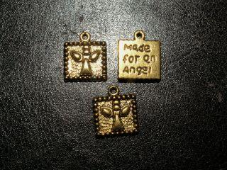 3 Süße Engel Engelchen Schutzengel Perle Anhänger Amulett Schutz Glück Messing Bild