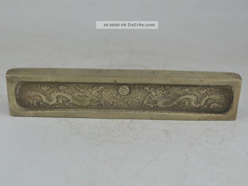 Collectible Exquisite Old Tibet Silver,  Silver Bar,  Coin Carving Dragon Antike Bild