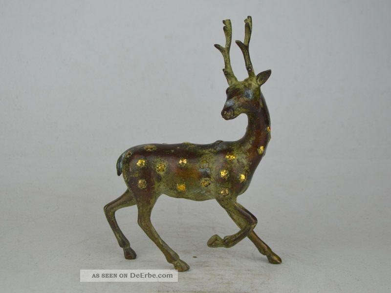 Collectible Exquisite Old Lebendig Bronze$copper Carving Cervus Nippon Statue Antike Bild