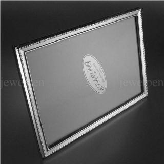 Dezenter Fotorahmen Massives 925 Sterling Silber - Schmale Leiste - HolzrÜcken Bild