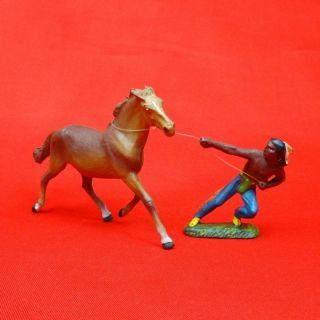 Lineol Massefigur Indianer Mit Eingefangenem Pferd Bild