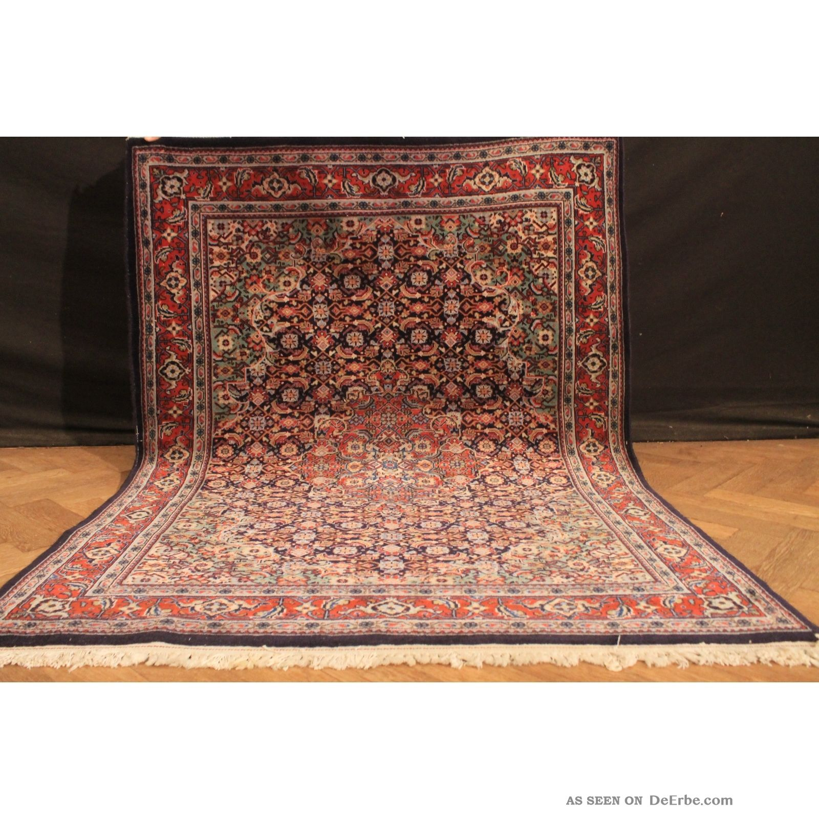 Fein Handgeknüpft Perser Blumen Palast Teppich Herati Carpet Tappeto 175x127cm Teppiche & Flachgewebe Bild