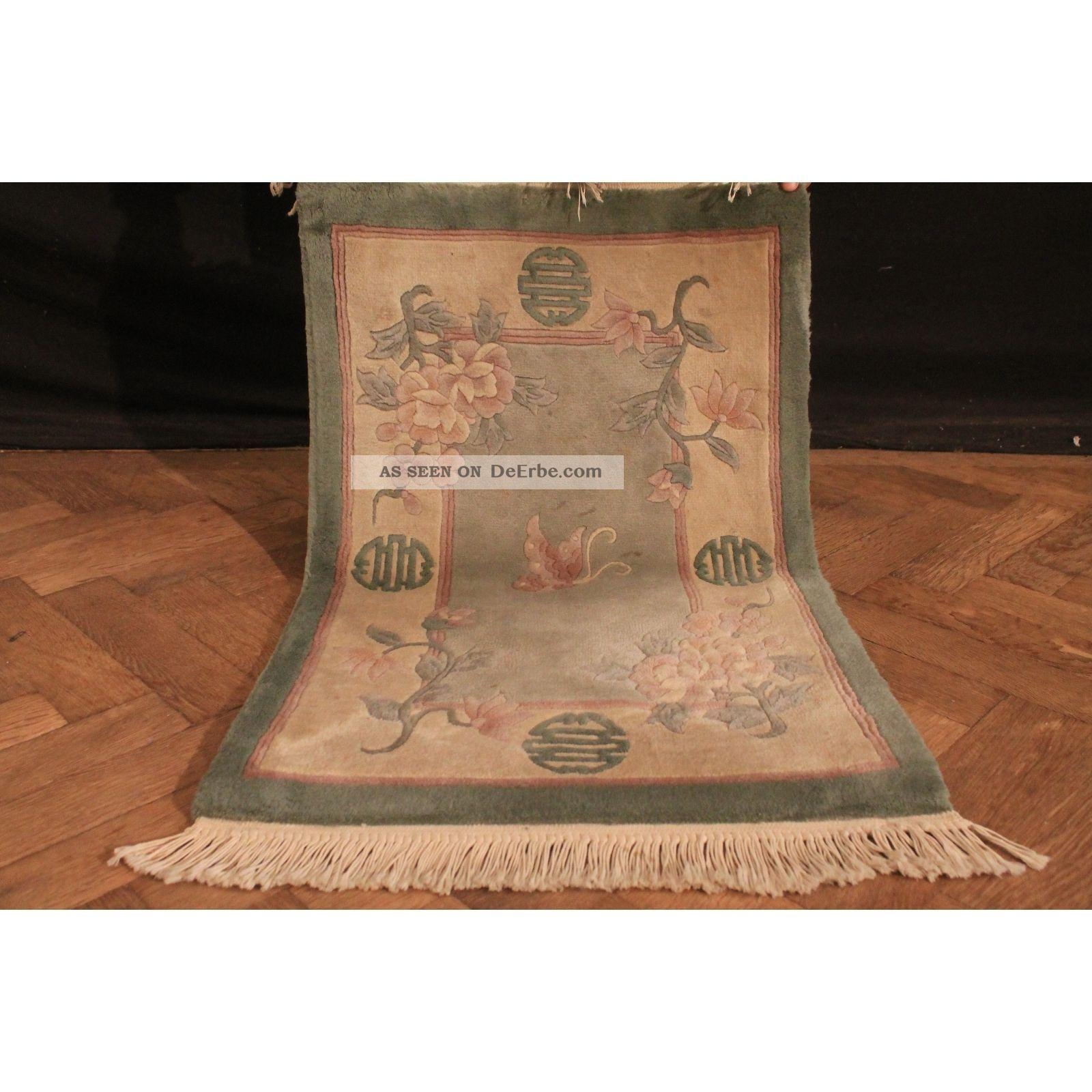 Schöner Handgeknüpfter Feiner China Art Deco Peking Teppich 100x60cm Rug Carpet Teppiche & Flachgewebe Bild