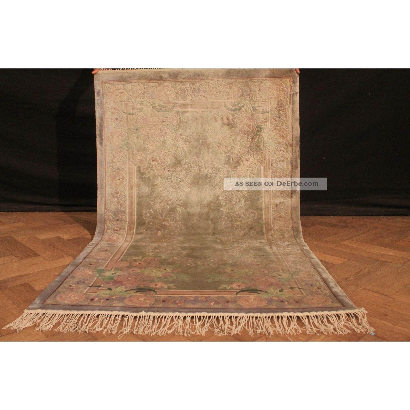 Fein Handgeknüpfter Seiden China Art Deco Peking Teppich Silk 150x90cm Carpet Teppiche & Flachgewebe Bild