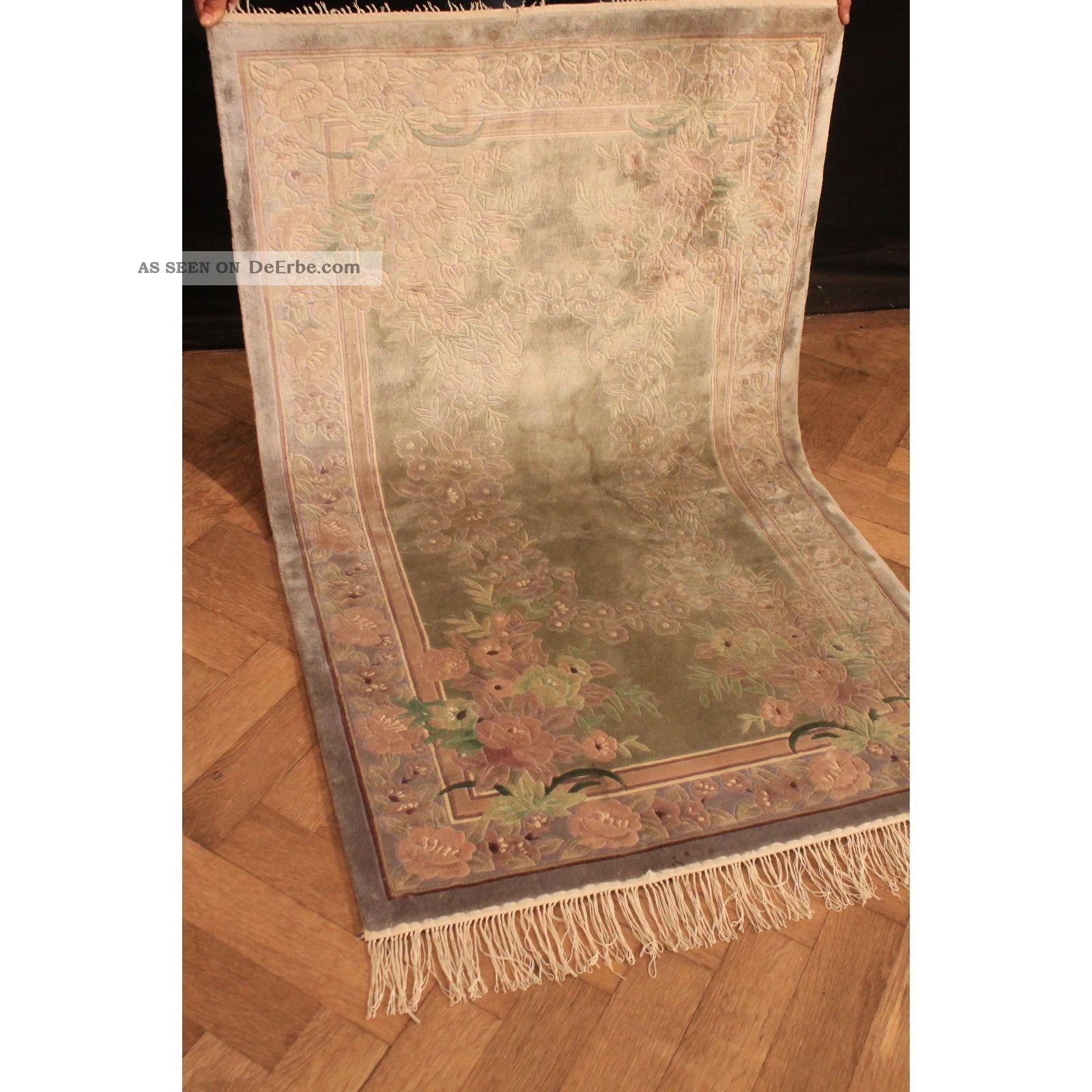 Fein Handgeknüpfter Seiden China Art Deco Peking Teppich