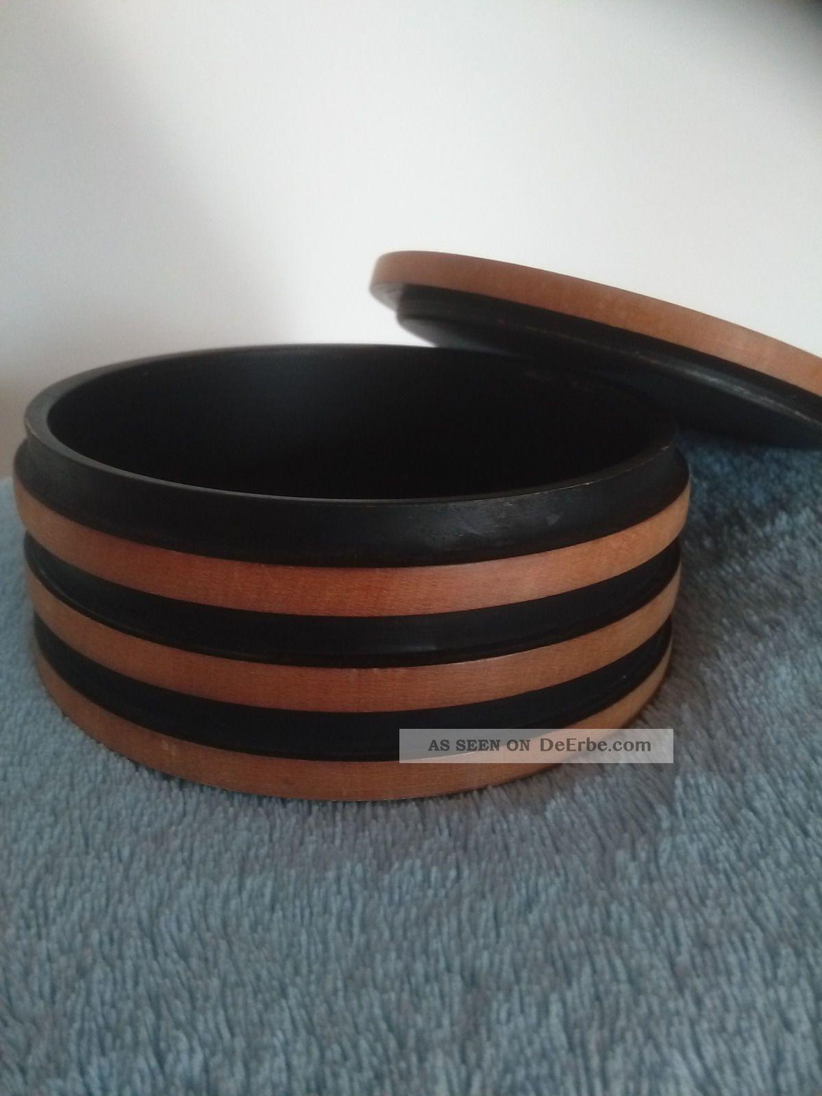 Schmuckdose Holz Deckeldose Schatulle Dose Rund 60er Jahre Holzarbeiten Bild