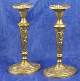Zwei 2 Neuzeitliche Jugendstil Kerzenleuchter Leuchter Messing Kerzenhalter Bild