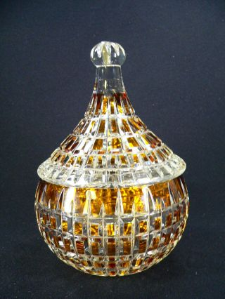 Gr.  Deckeldose Bleikristall M Gelben Einfärbungen Aufwändg.  Geschliffen 22,  5 Cm Bild