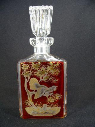 Karaffe A Kristall Mit Eingeschl.  Wilddekor Rot überfangen 27,  5 Cm Hoch Bild